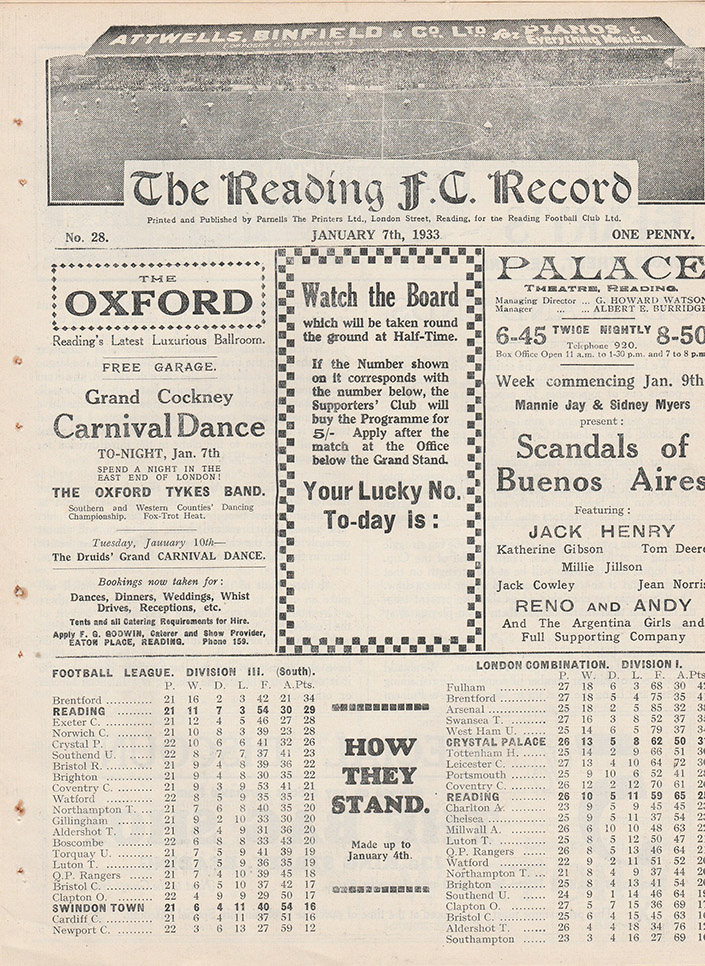 Saturday, January 7, 1933 - vs. Reading (Away)