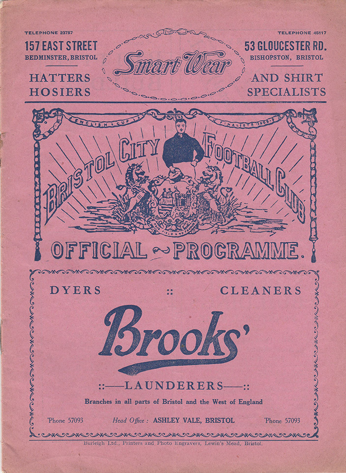 <b>Saturday, September 9, 1933</b><br />vs. Bristol City (Away)