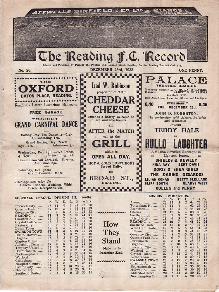 <b>Saturday, December 23, 1933</b><br />vs. Reading (Away)