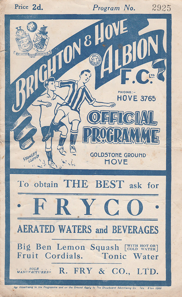 Saturday, January 13, 1934 - vs. Brighton and Hove Albion (Away)