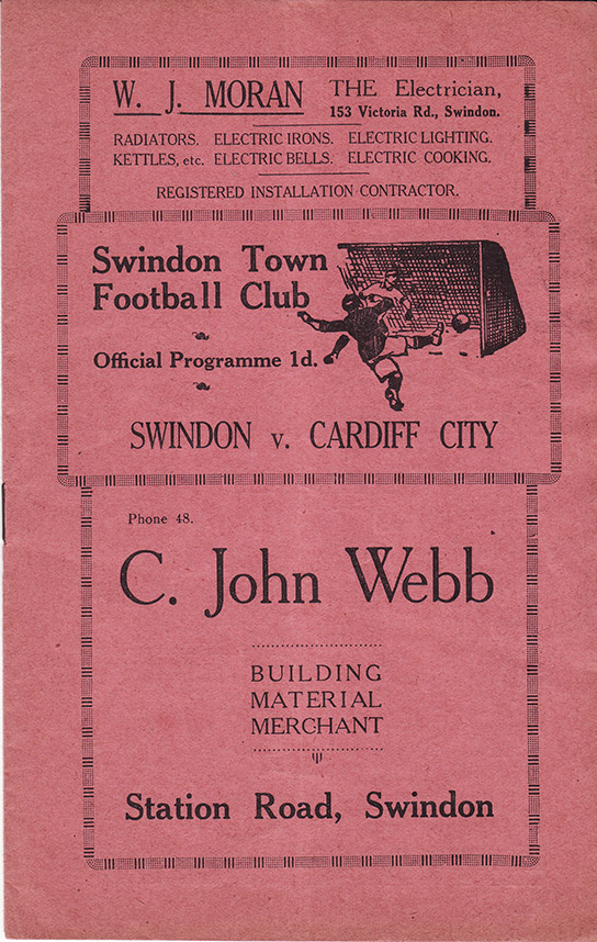 <b>Saturday, April 7, 1934</b><br />vs. Cardiff City (Home)