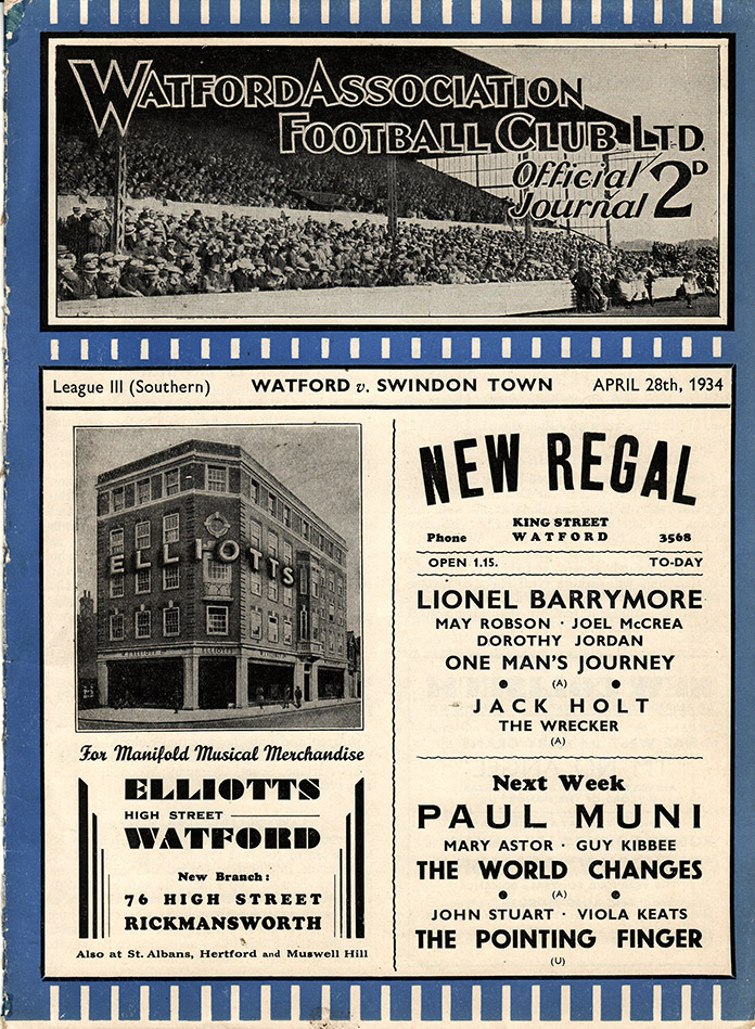 <b>Saturday, April 28, 1934</b><br />vs. Watford (Away)