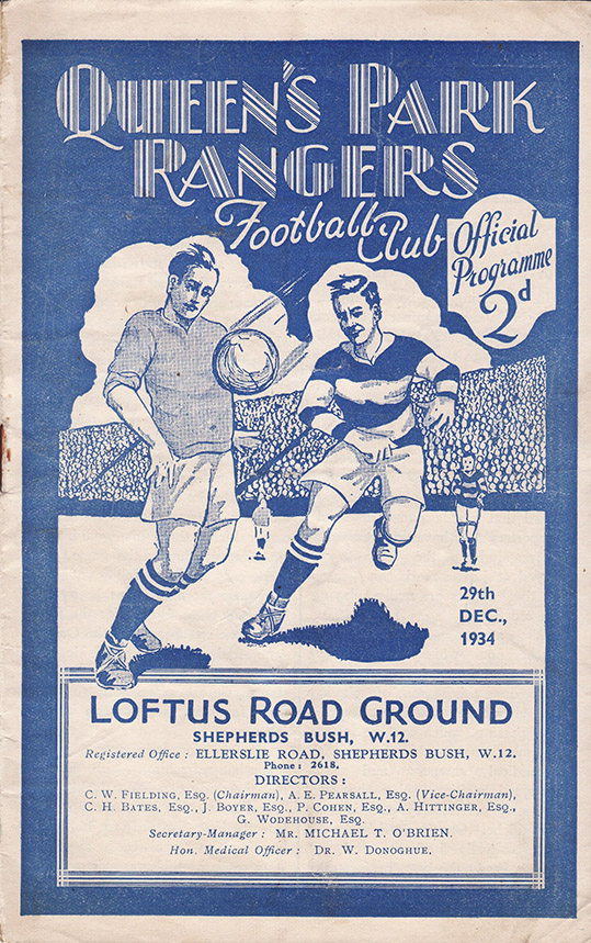 Saturday, December 29, 1934 - vs. Queens Park Rangers (Away)