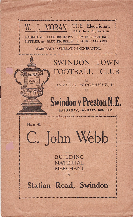 Saturday, January 26, 1935 - vs. Preston North End (Home)