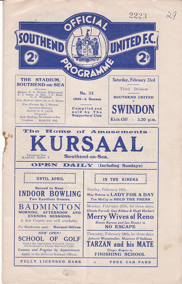 Saturday, February 23, 1935 - vs. Southend United (Away)