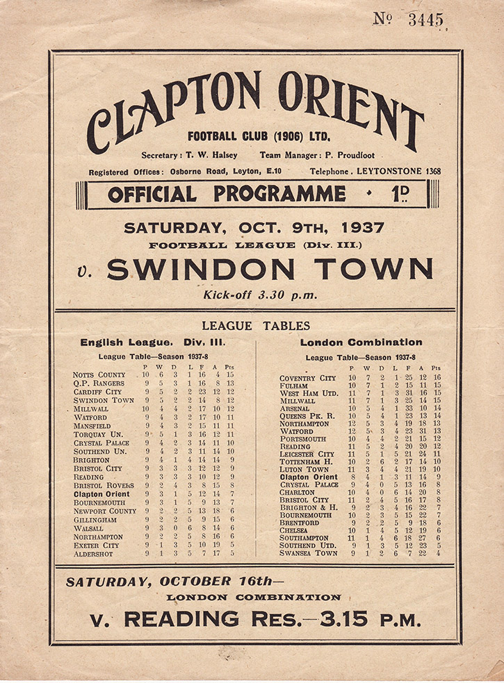 Saturday, October 9, 1937 - vs. Clapton Orient (Away)