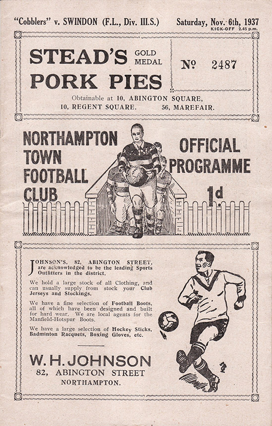 <b>Saturday, November 6, 1937</b><br />vs. Northampton Town (Away)