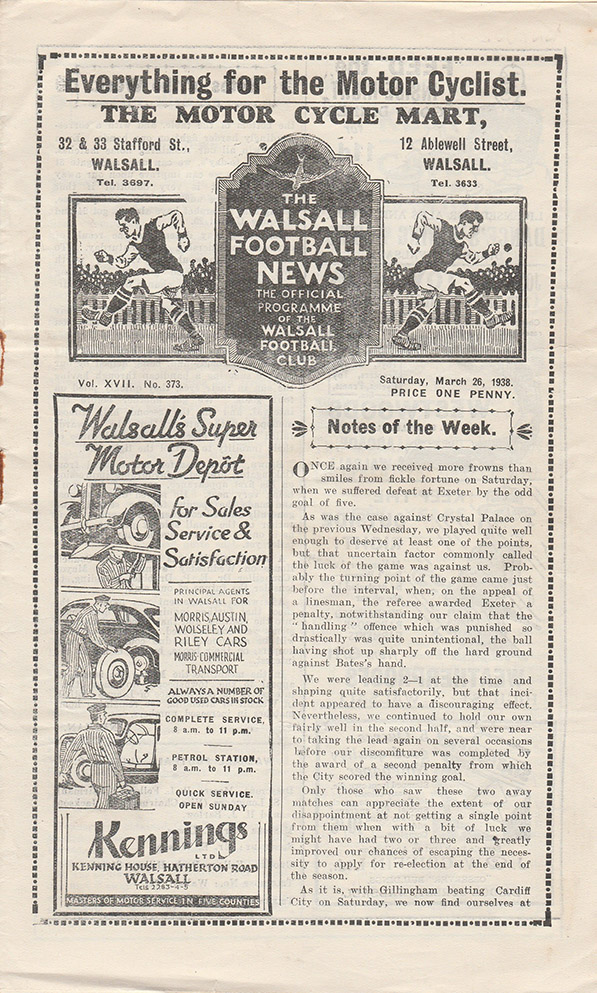 Saturday, March 26, 1938 - vs. Walsall (Away)