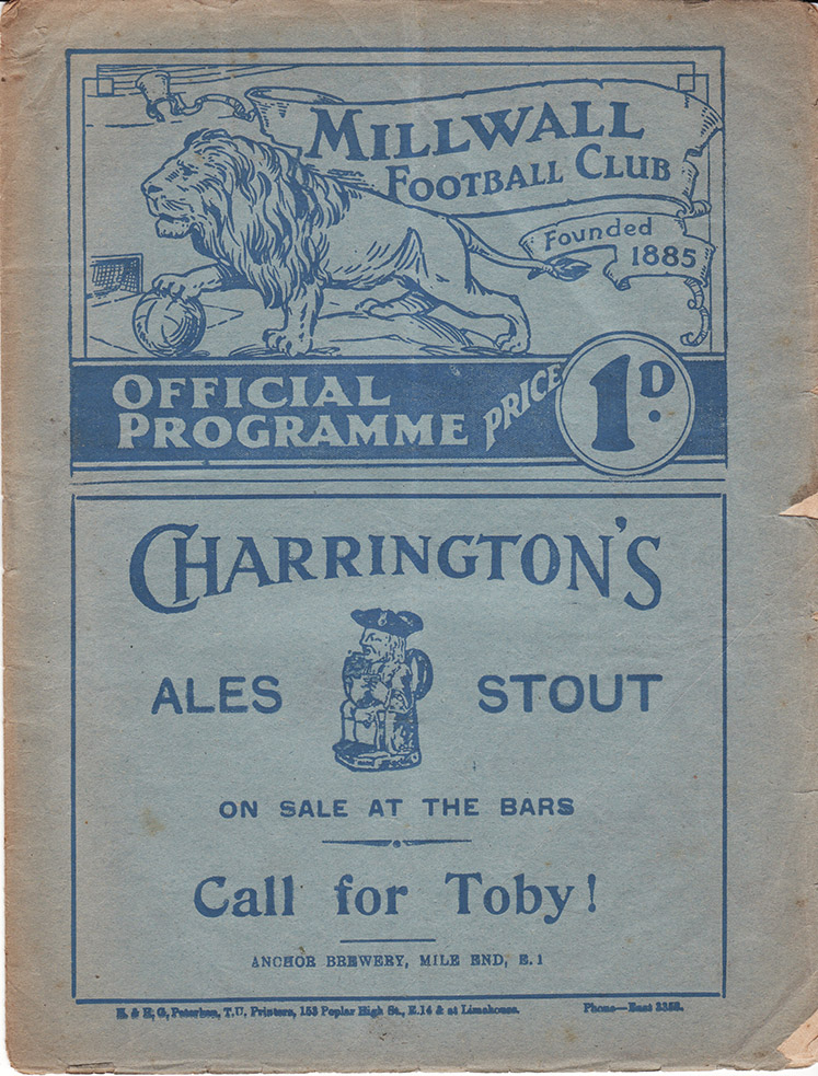 <b>Friday, April 15, 1938</b><br />vs. Millwall (Away)