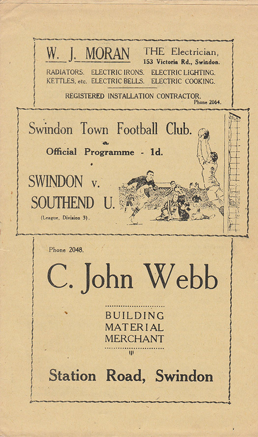 Saturday, April 30, 1938 - vs. Southend United (Home)