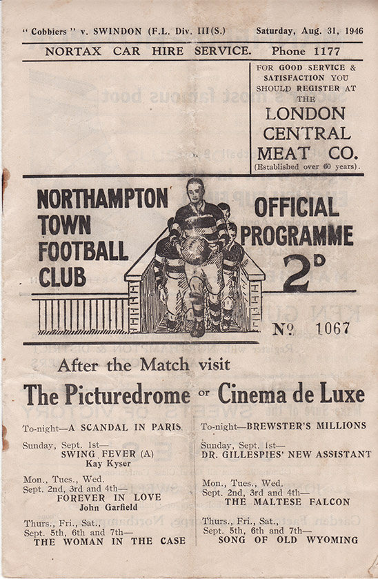 <b>Saturday, August 31, 1946</b><br />vs. Northampton Town (Away)