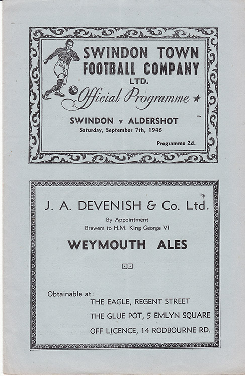 <b>Saturday, September 7, 1946</b><br />vs. Aldershot (Home)