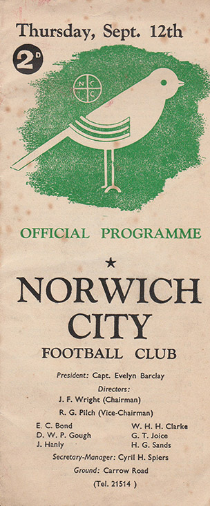 <b>Thursday, September 12, 1946</b><br />vs. Norwich City (Away)