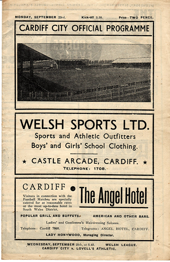 <b>Monday, September 23, 1946</b><br />vs. Cardiff City (Away)