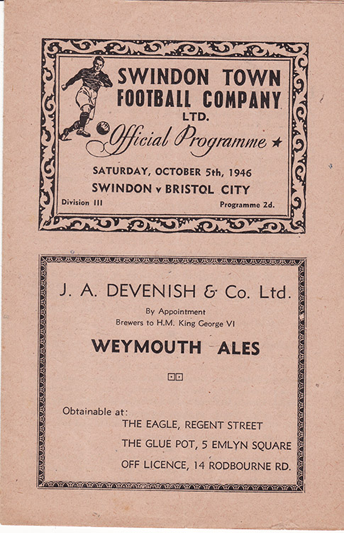 <b>Saturday, October 5, 1946</b><br />vs. Bristol City (Home)