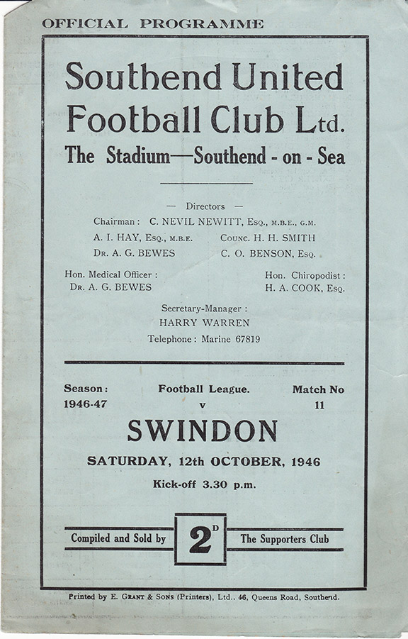 <b>Saturday, October 12, 1946</b><br />vs. Southend United (Away)