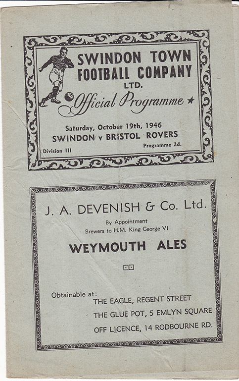 <b>Saturday, October 19, 1946</b><br />vs. Bristol Rovers (Home)