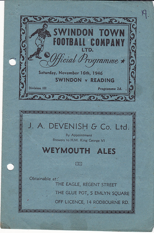 <b>Saturday, November 16, 1946</b><br />vs. Reading (Home)