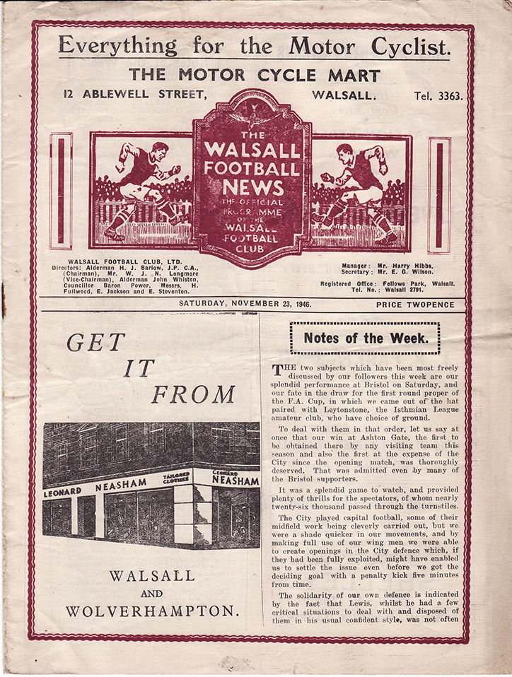 <b>Saturday, November 23, 1946</b><br />vs. Walsall (Away)