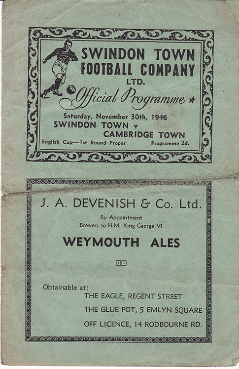 <b>Saturday, November 30, 1946</b><br />vs. Cambridge Town (Home)