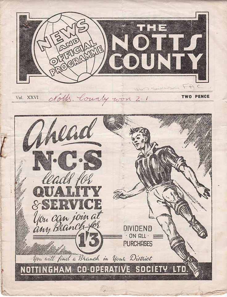 <b>Saturday, December 14, 1946</b><br />vs. Notts County (Away)