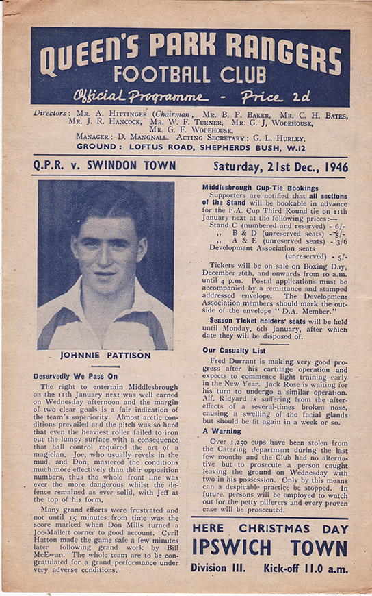 <b>Saturday, December 21, 1946</b><br />vs. Queens Park Rangers (Away)