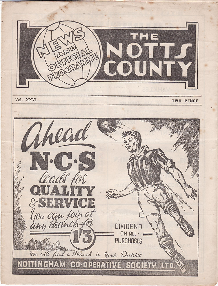 <b>Wednesday, December 25, 1946</b><br />vs. Notts County (Away)