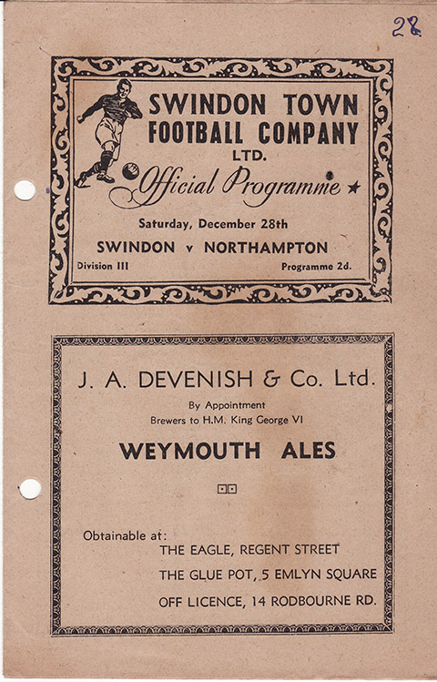 <b>Saturday, December 28, 1946</b><br />vs. Northampton Town (Home)