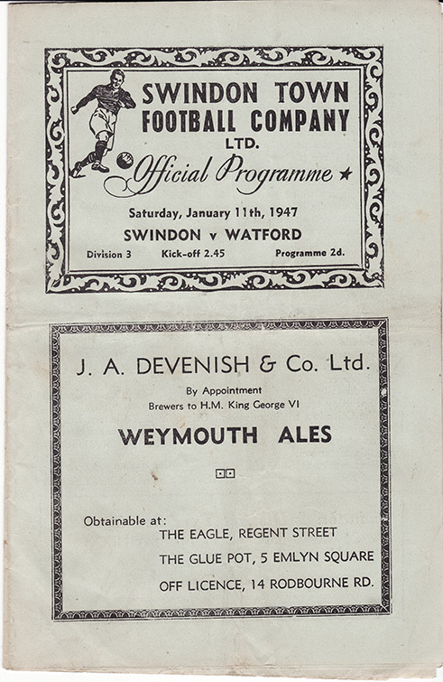 <b>Saturday, January 11, 1947</b><br />vs. Watford (Home)