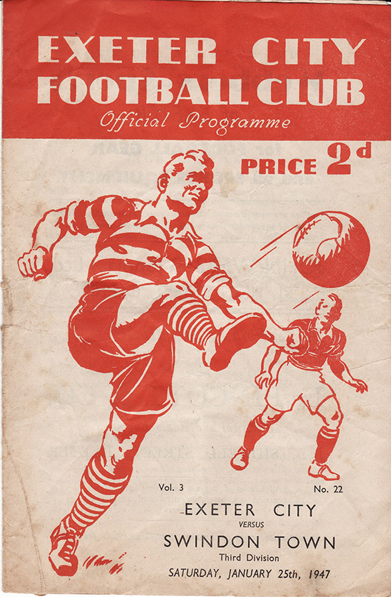 <b>Saturday, January 25, 1947</b><br />vs. Exeter City (Away)