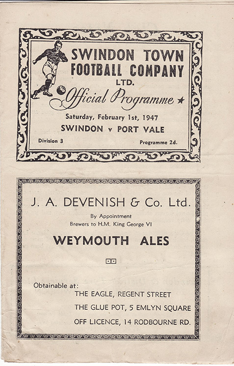 <b>Saturday, February 1, 1947</b><br />vs. Port Vale (Home)
