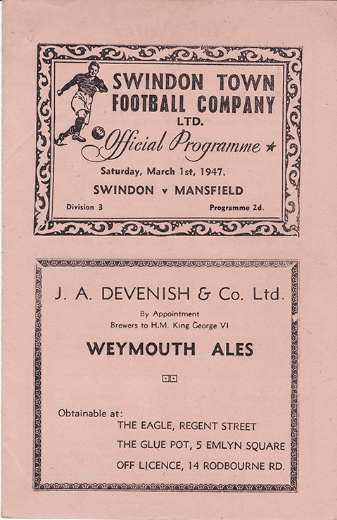 <b>Saturday, March 1, 1947</b><br />vs. Mansfield Town (Home)