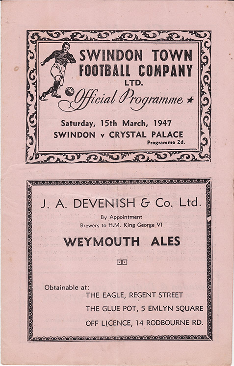 <b>Saturday, March 15, 1947</b><br />vs. Crystal Palace (Home)