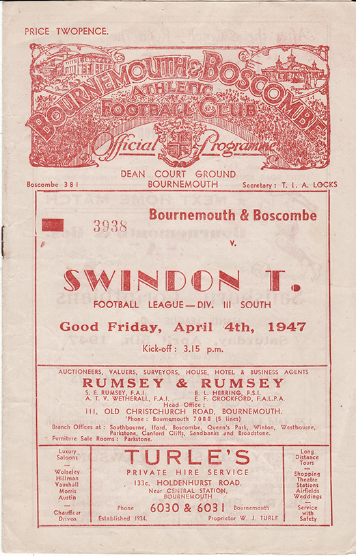 <b>Friday, April 4, 1947</b><br />vs. Bournemouth and Boscombe Athletic (Away)
