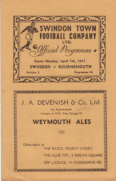 <b>Monday, April 7, 1947</b><br />vs. Bournemouth and Boscombe Athletic (Home)
