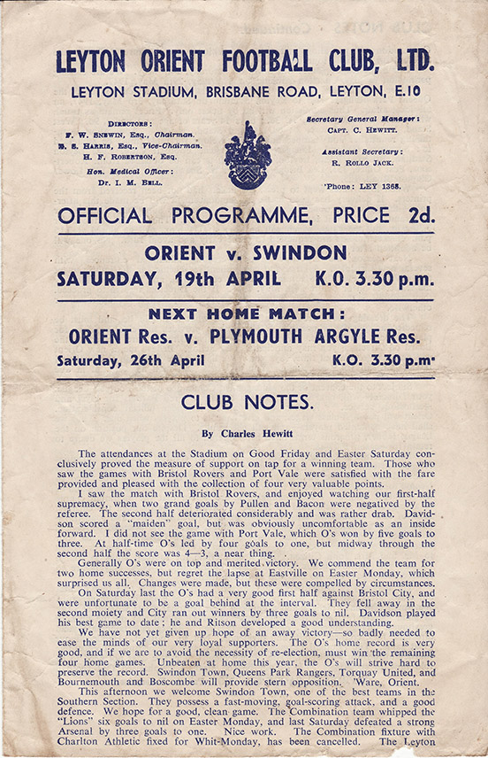 <b>Saturday, April 19, 1947</b><br />vs. Leyton Orient (Away)