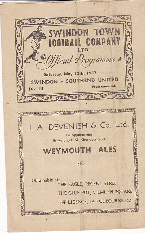 <b>Saturday, May 10, 1947</b><br />vs. Southend United (Home)