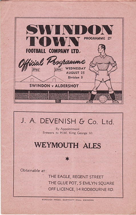 Wednesday, August 25, 1948 - vs. Aldershot (Home)