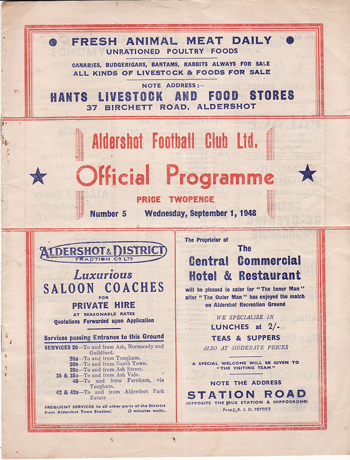 Wednesday, September 1, 1948 - vs. Aldershot (Away)