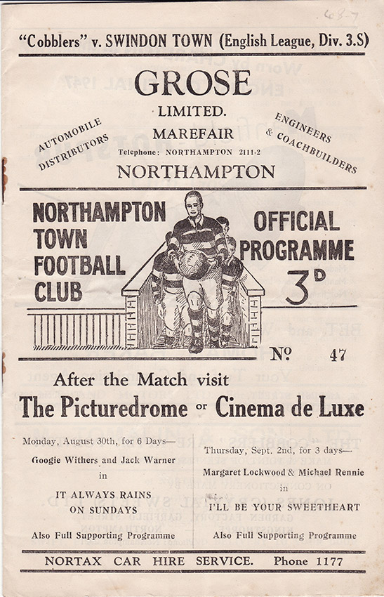 Saturday, September 4, 1948 - vs. Northampton Town (Away)