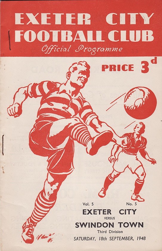 Saturday, September 18, 1948 - vs. Exeter City (Away)