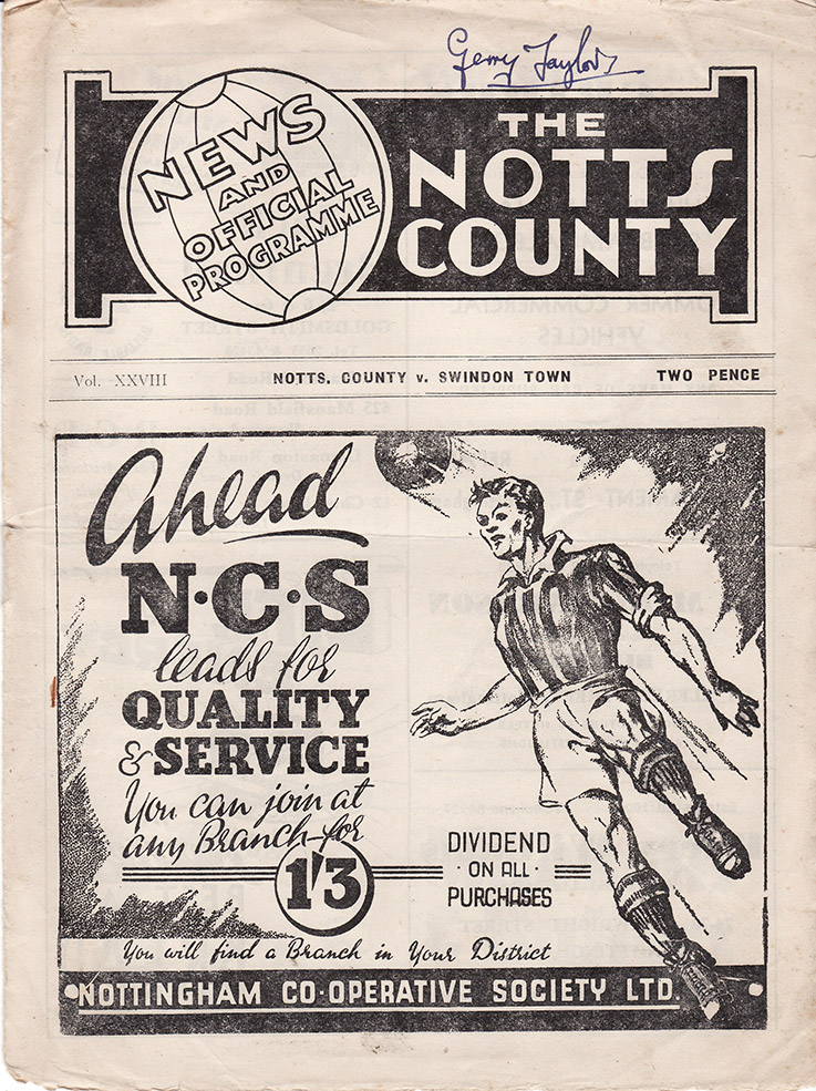 Thursday, September 23, 1948 - vs. Notts County (Away)