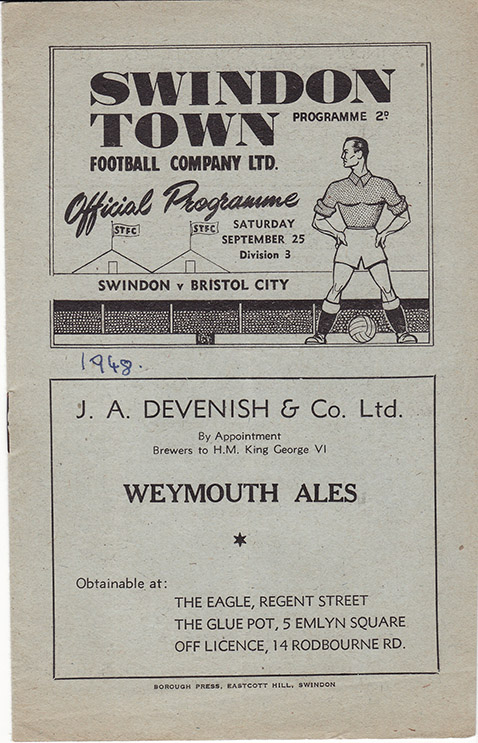 Saturday, September 25, 1948 - vs. Bristol City (Home)