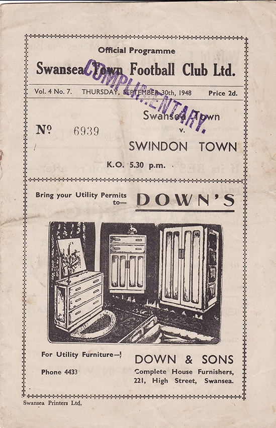 Thursday, September 30, 1948 - vs. Swansea Town (Away)