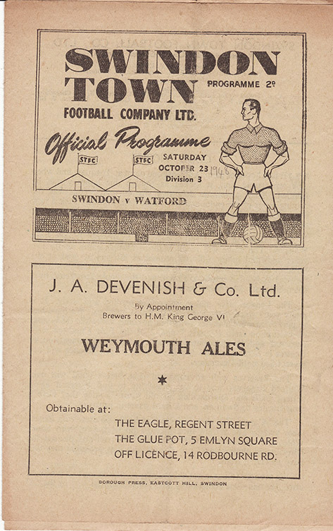 Saturday, October 23, 1948 - vs. Watford (Home)