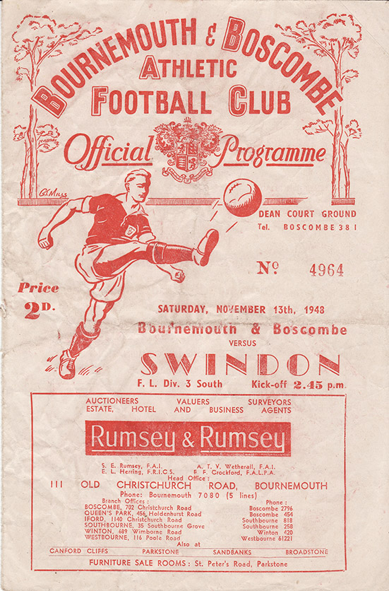 Saturday, November 13, 1948 - vs. Bournemouth and Boscombe Athletic (Away)