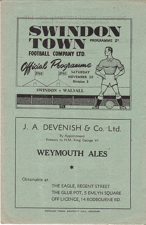 Saturday, November 20, 1948 - vs. Walsall (Home)