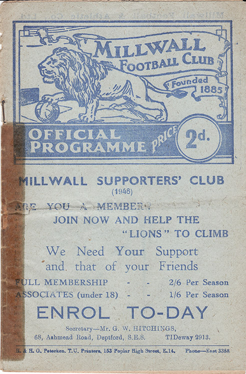 Saturday, December 25, 1948 - vs. Millwall (Away)