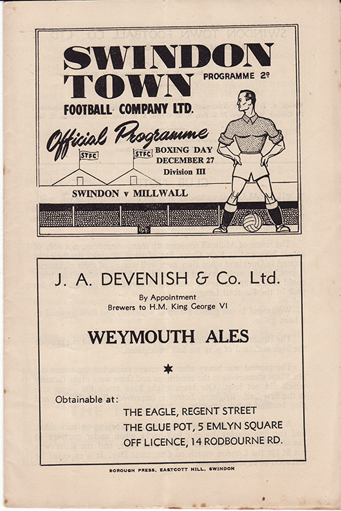 Monday, December 27, 1948 - vs. Millwall (Home)
