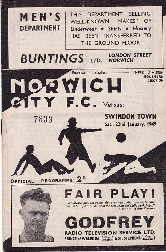 Saturday, January 22, 1949 - vs. Norwich City (Away)